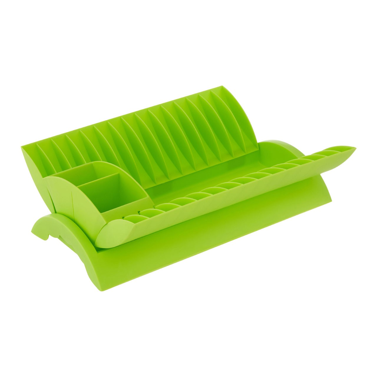Dish Drainer with Removable Cutlery Caddy - Lime Green