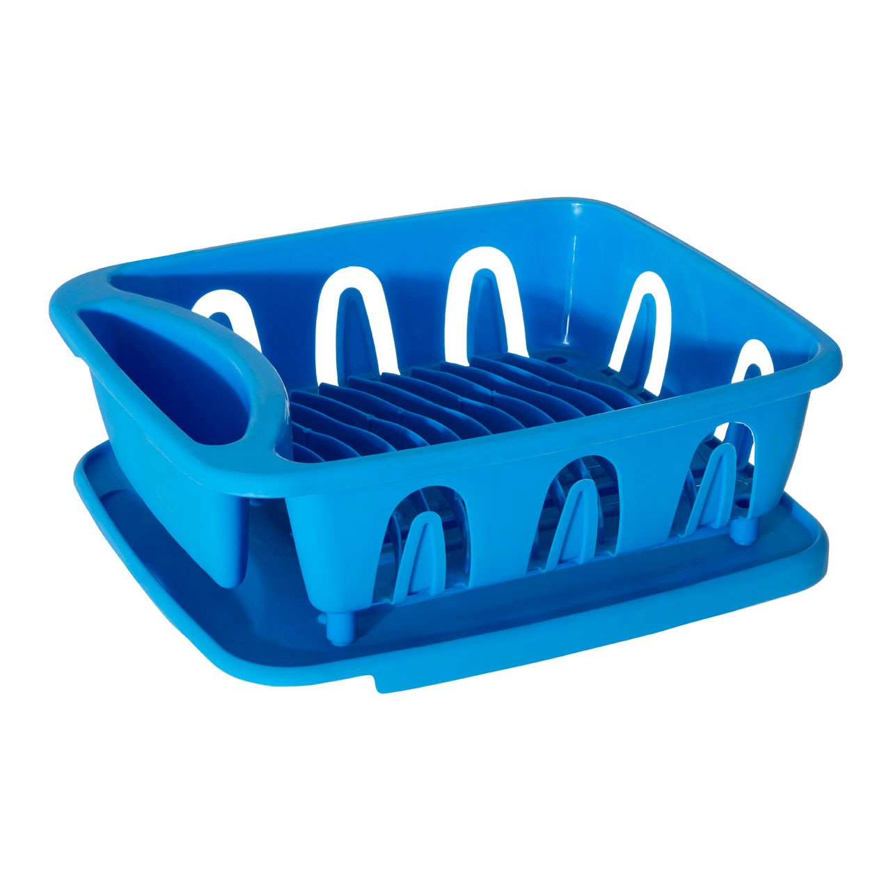 Dish Drainer, Blue Plastic, Removable Tray