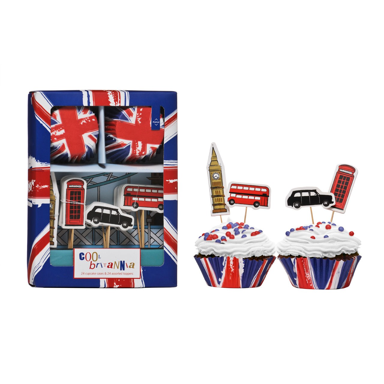 Cool Britannia Cupcake Cases and Toppers, 48 Pieces