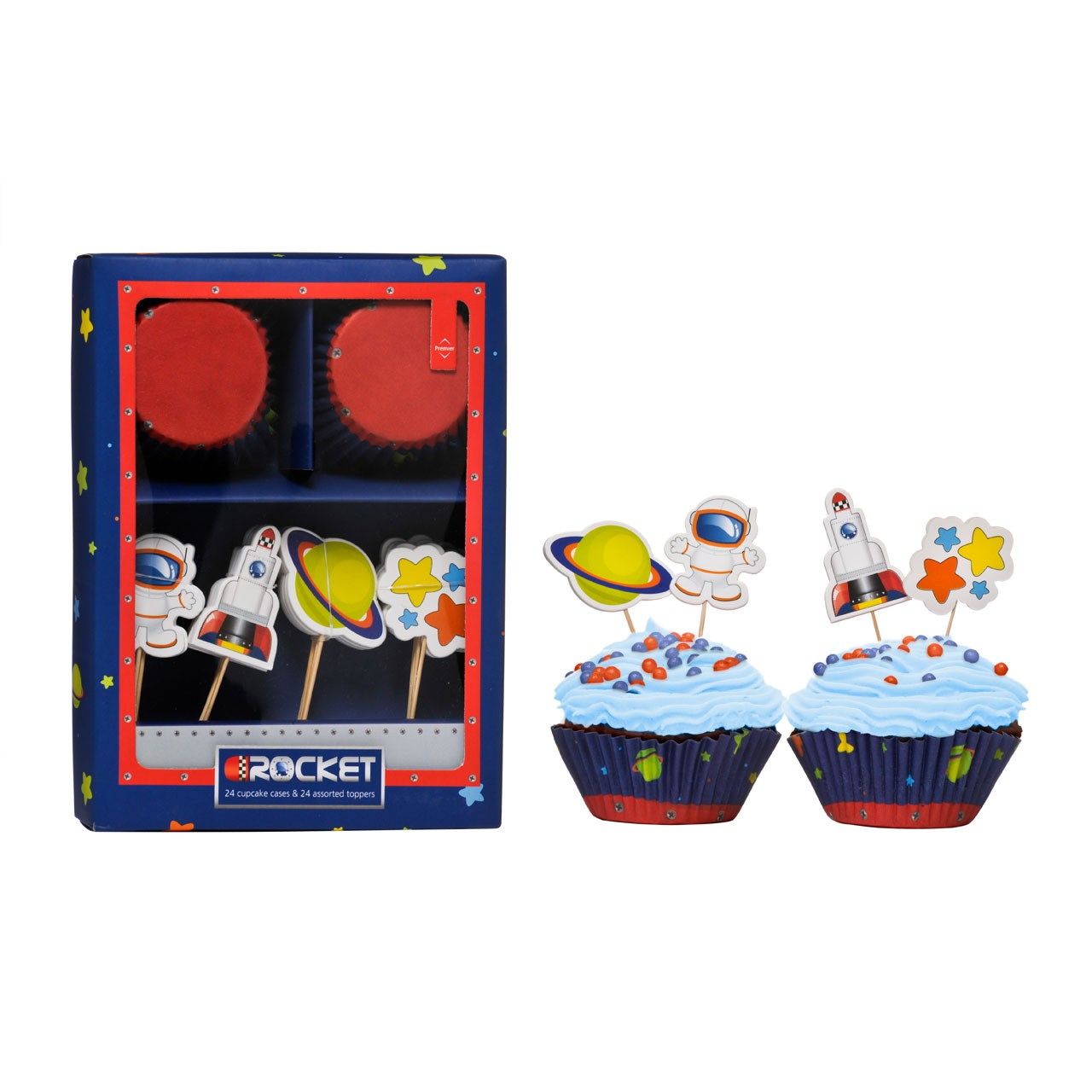 Rocket Cupcake Cases And Toppers Set