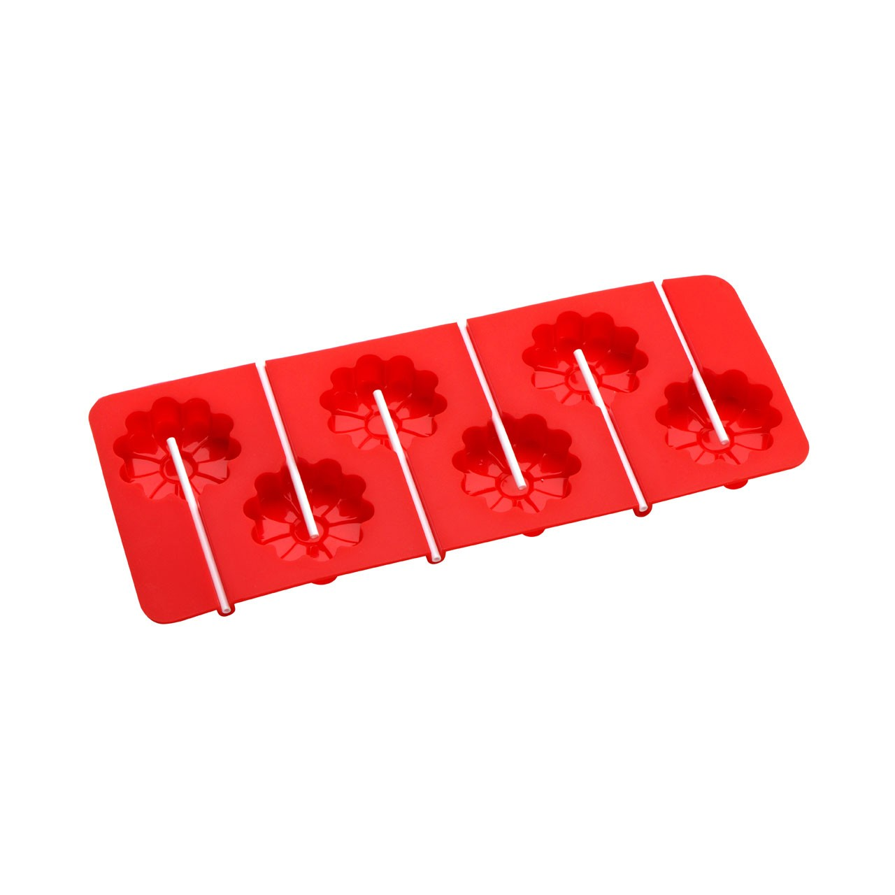 6-Flower Cake Pop Silicone Mould - Red