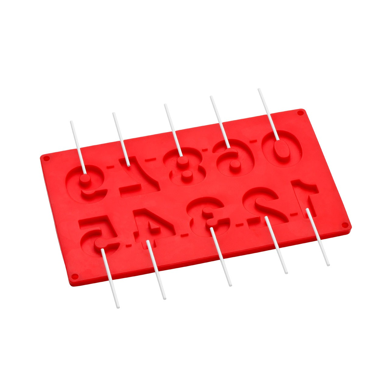 10 Number Cake Pop Silicone Mould - Red