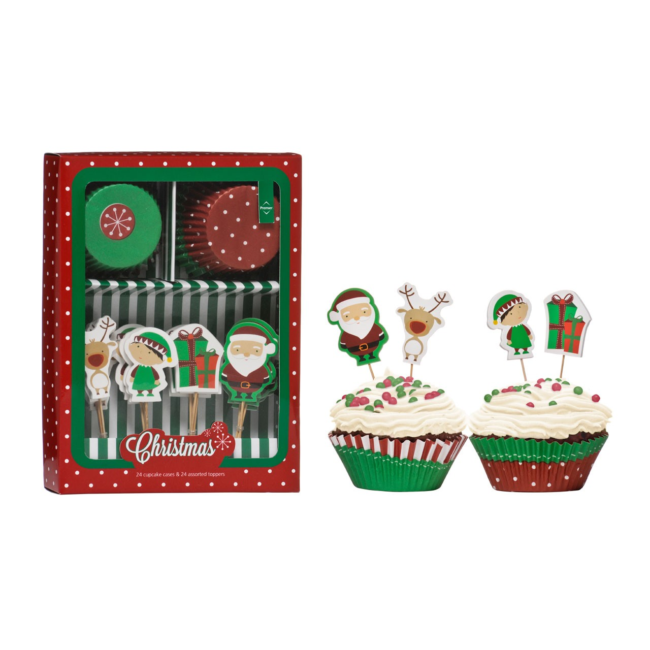 Christmas Cupcake Cases and Toppers Set, 48-Piece