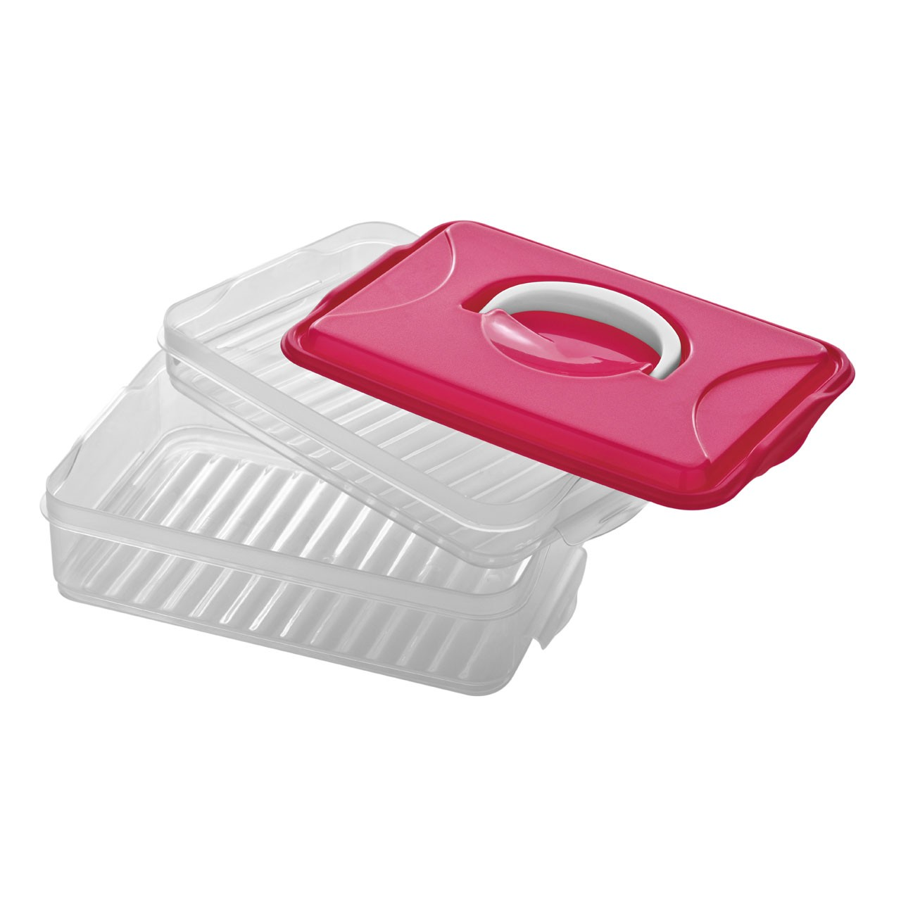 2 Layer Storage With Handle Clear Plastic - Hot Pink