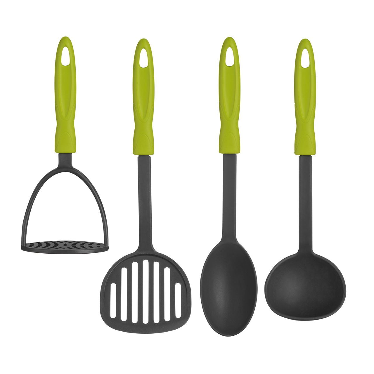4pc KitchenTool Set Slotted Turner Ladle Masher Solid Spoon