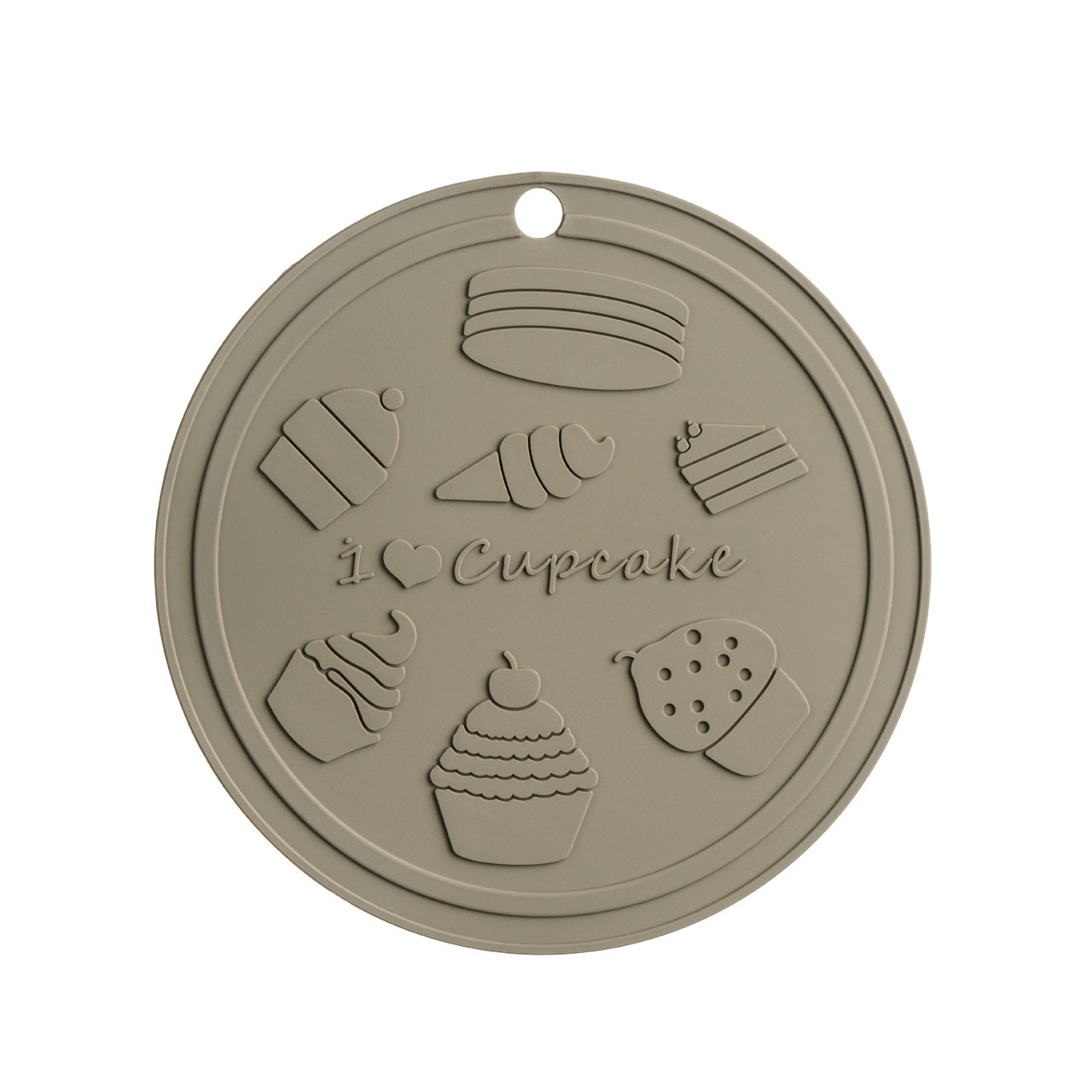 I Love Cupcakes Trivet Grey Silicone