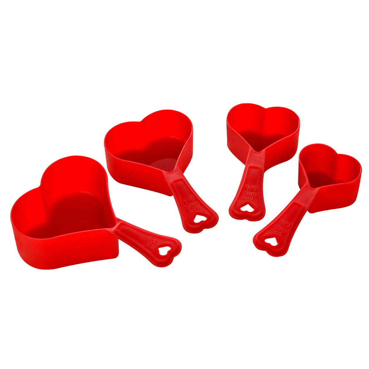 4 Piece Red Love Heart Shaped Measuring Spoon Set Cups