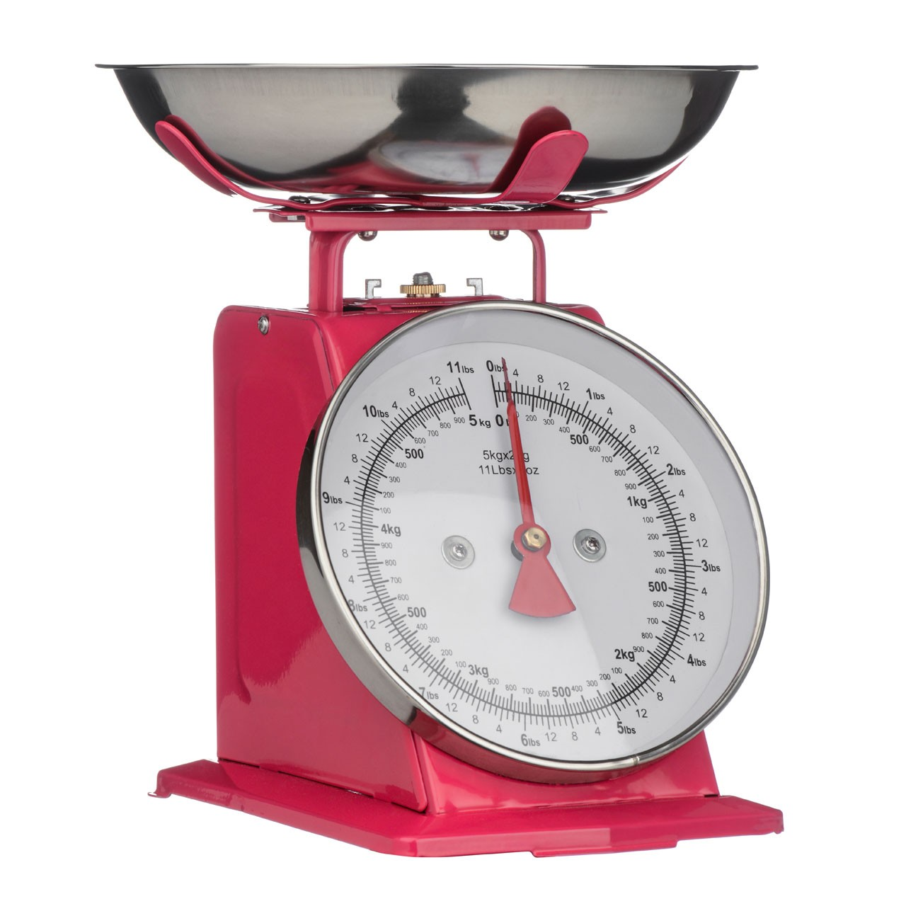 5Kg Kitchen Scale Retro Style with S.Steel Bowl - Hot Pink