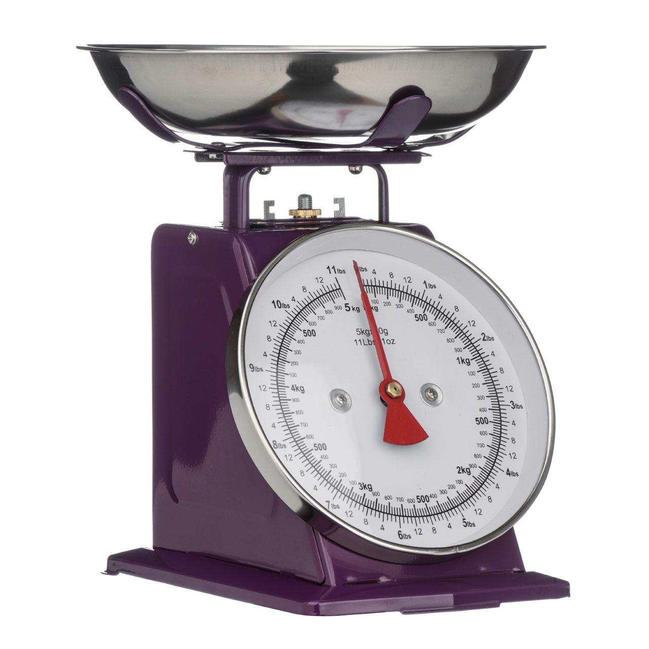 5 Kg Kitchen Scale Retro Style with Stainless Steel Bowl -Purple