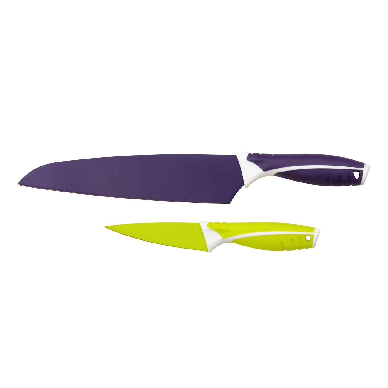 2pc Knife Set Purple Chef's Knife/Lime Green Paring Knife
