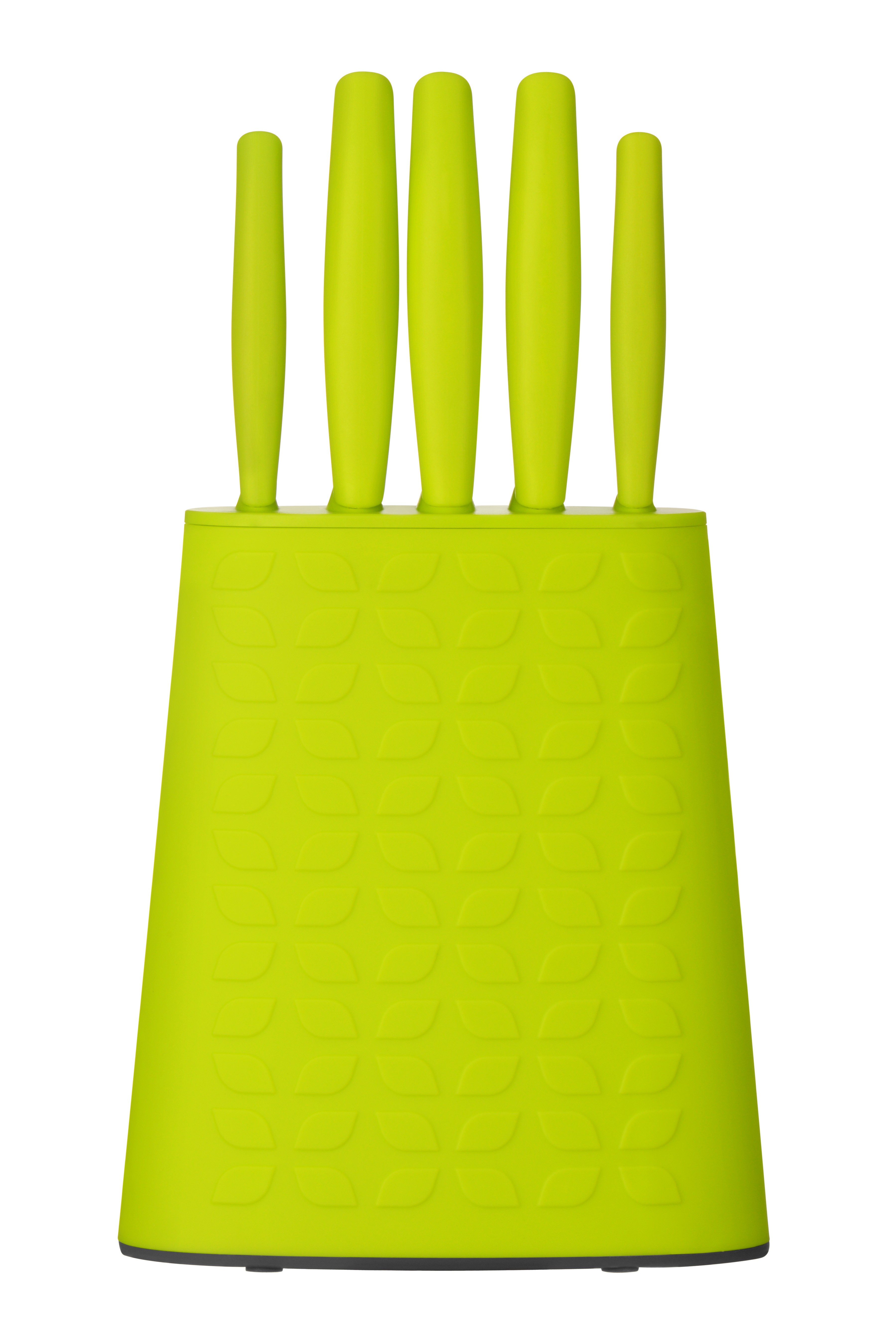 5pc Knife Block Set Lime Green PP Handle/Block Stainless Steel