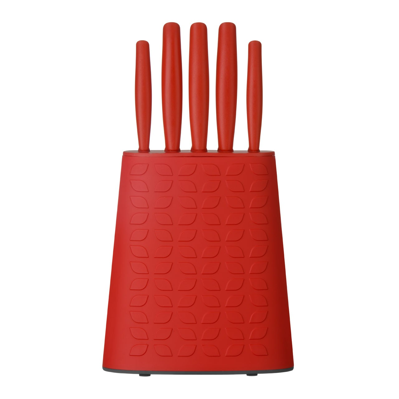 5pc Knife Block Set Red PP Handle/Block Stainless Steel Blades