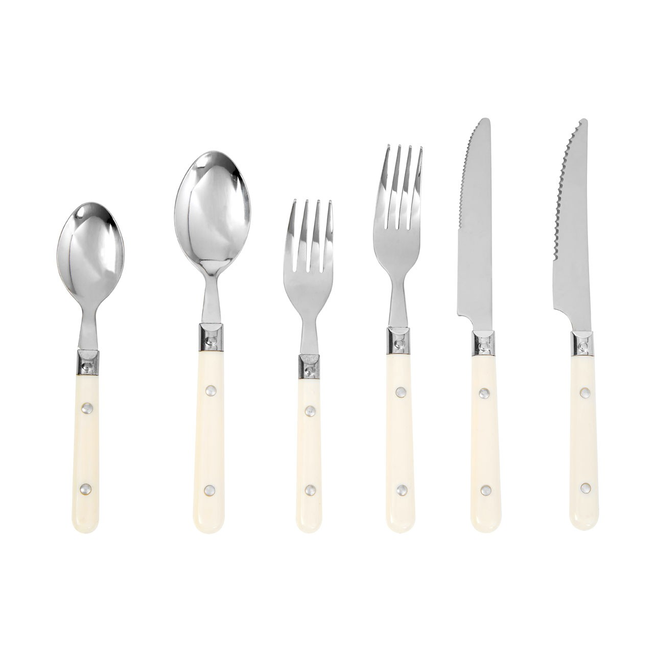 Cafe Cutlery Set with Tray - 36 Pieces, Cream