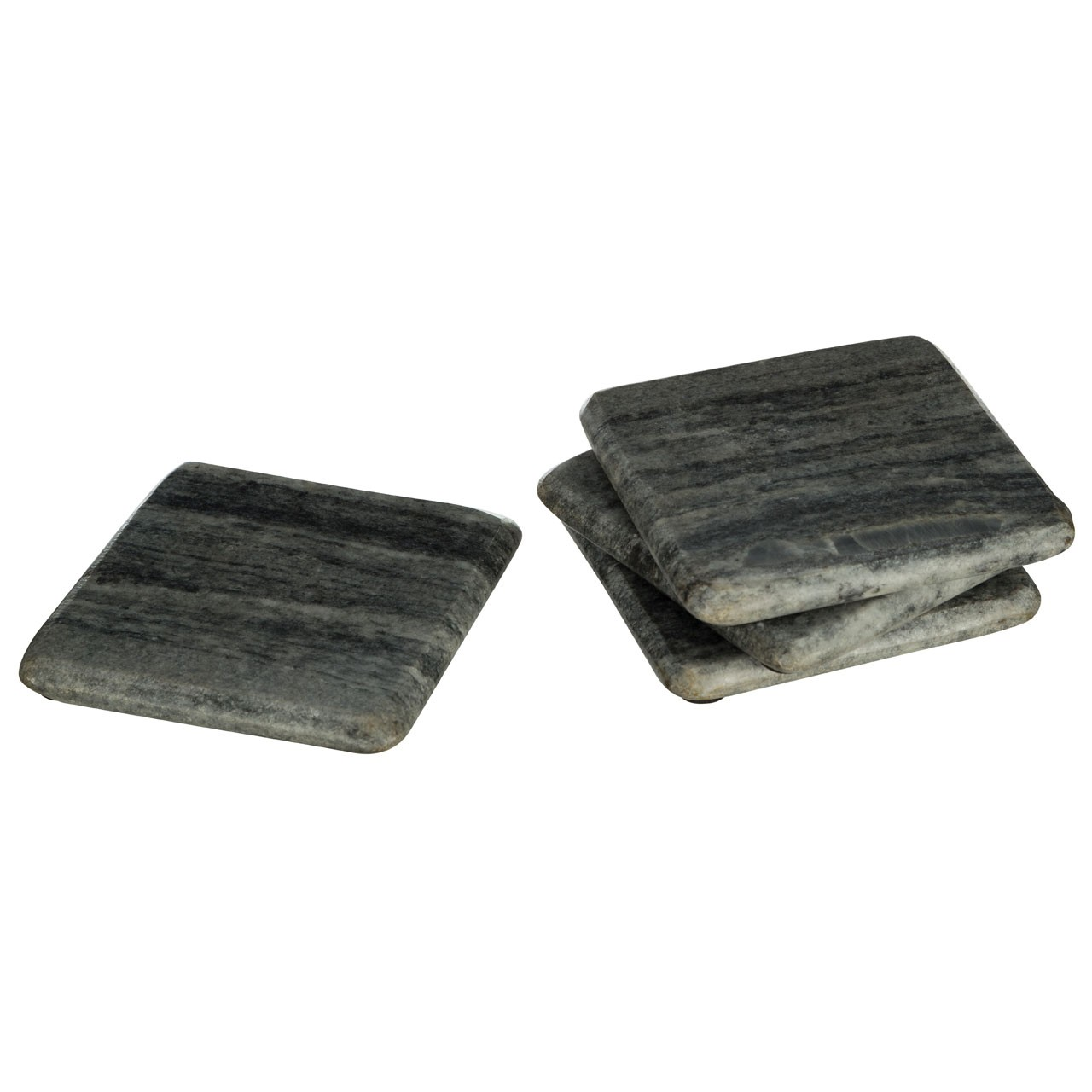 Square Marble Coasters, Grey - Set Of 4