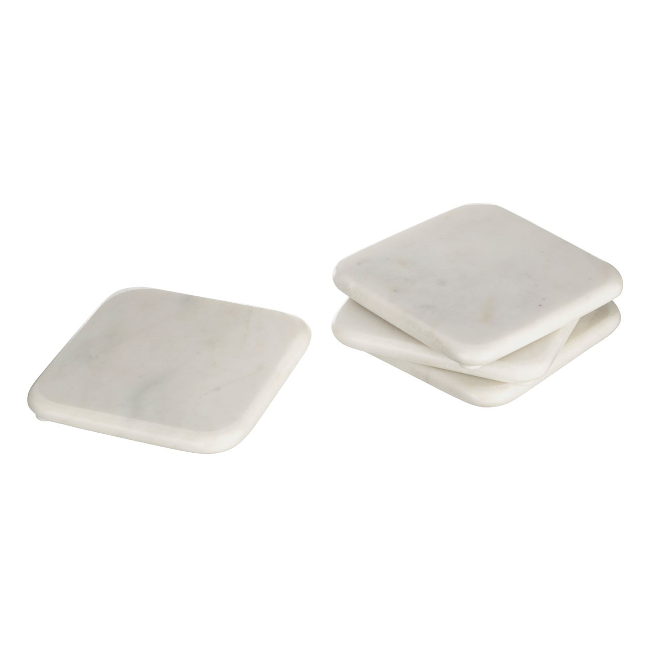 Square Marble Coasters, Off White - Set of 4