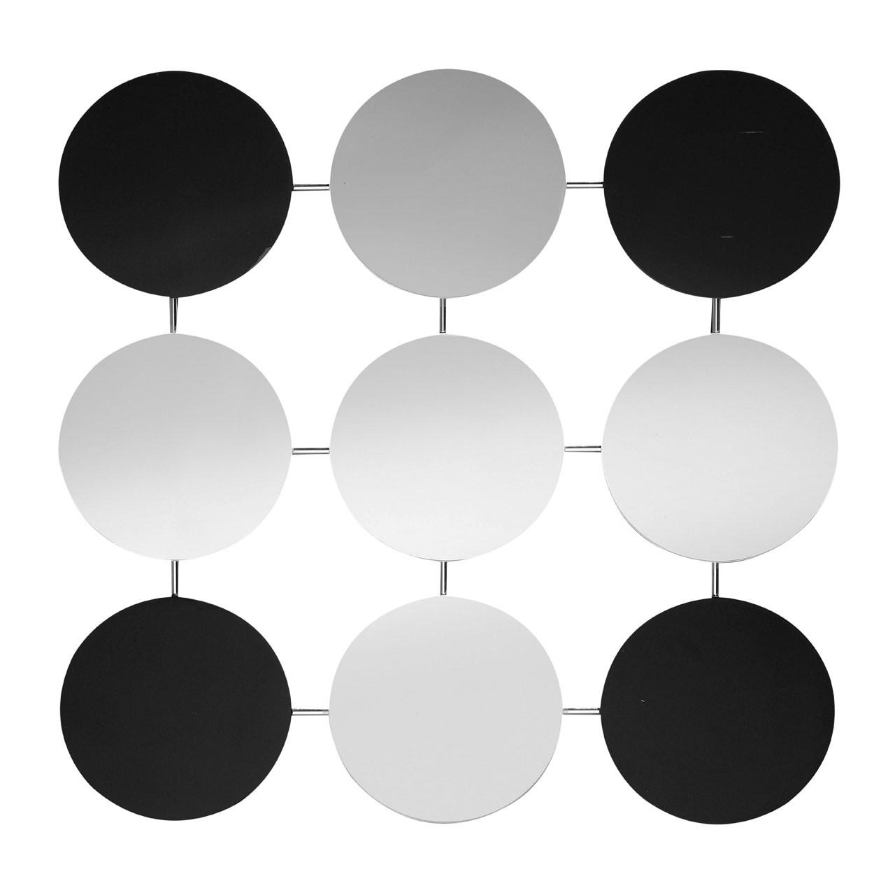 9 Circle Mirror - Black/Clear