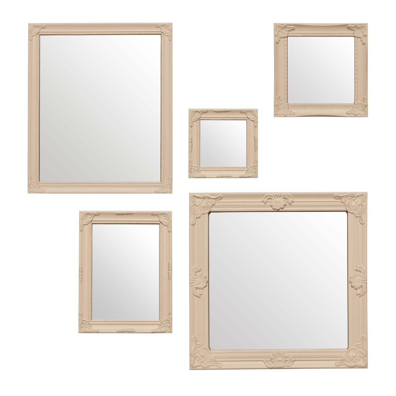 Prime Furnishing Baroque Mirrors - Cream - Set Of 5