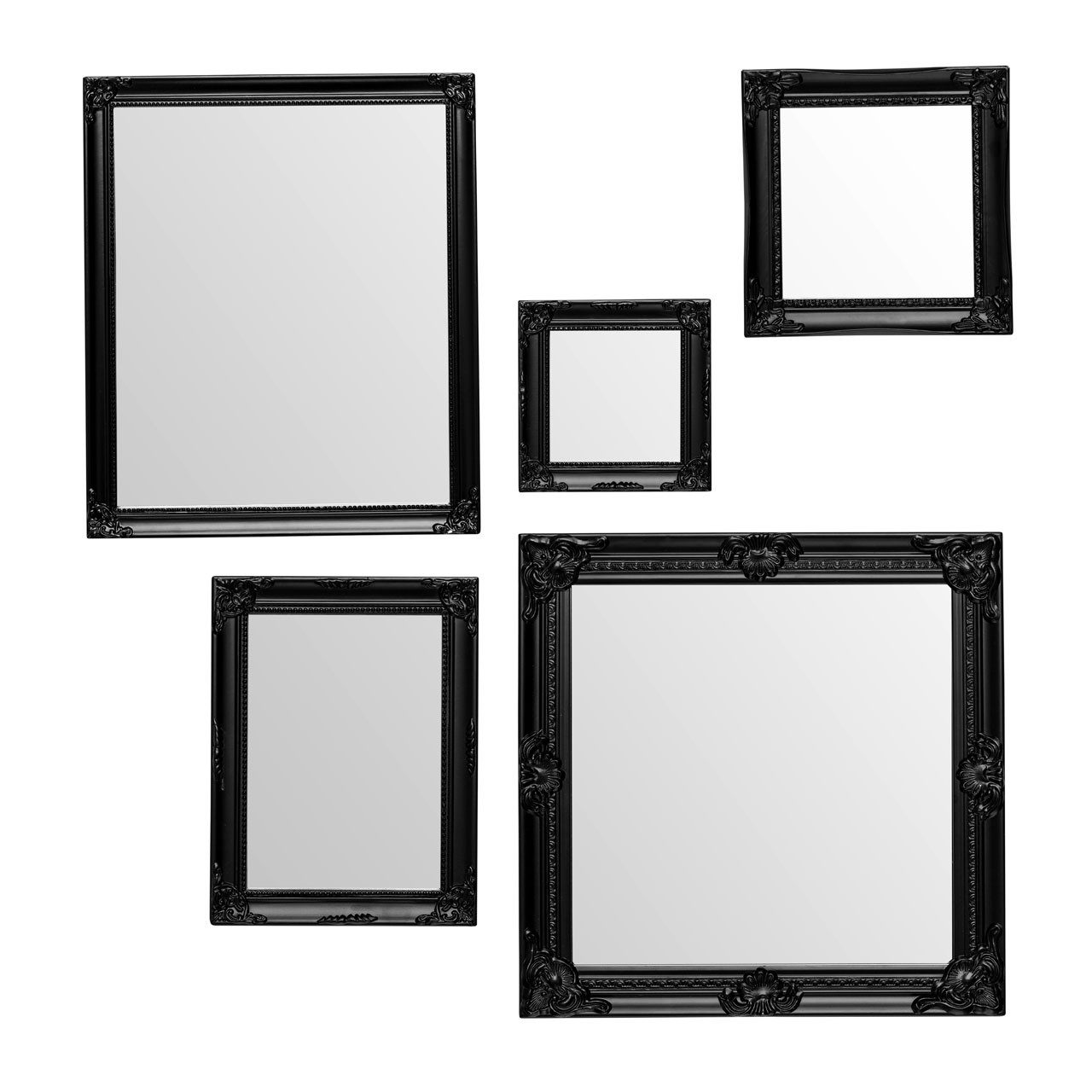 Prime Furnishing Baroque Mirrors - Black - Set Of 5
