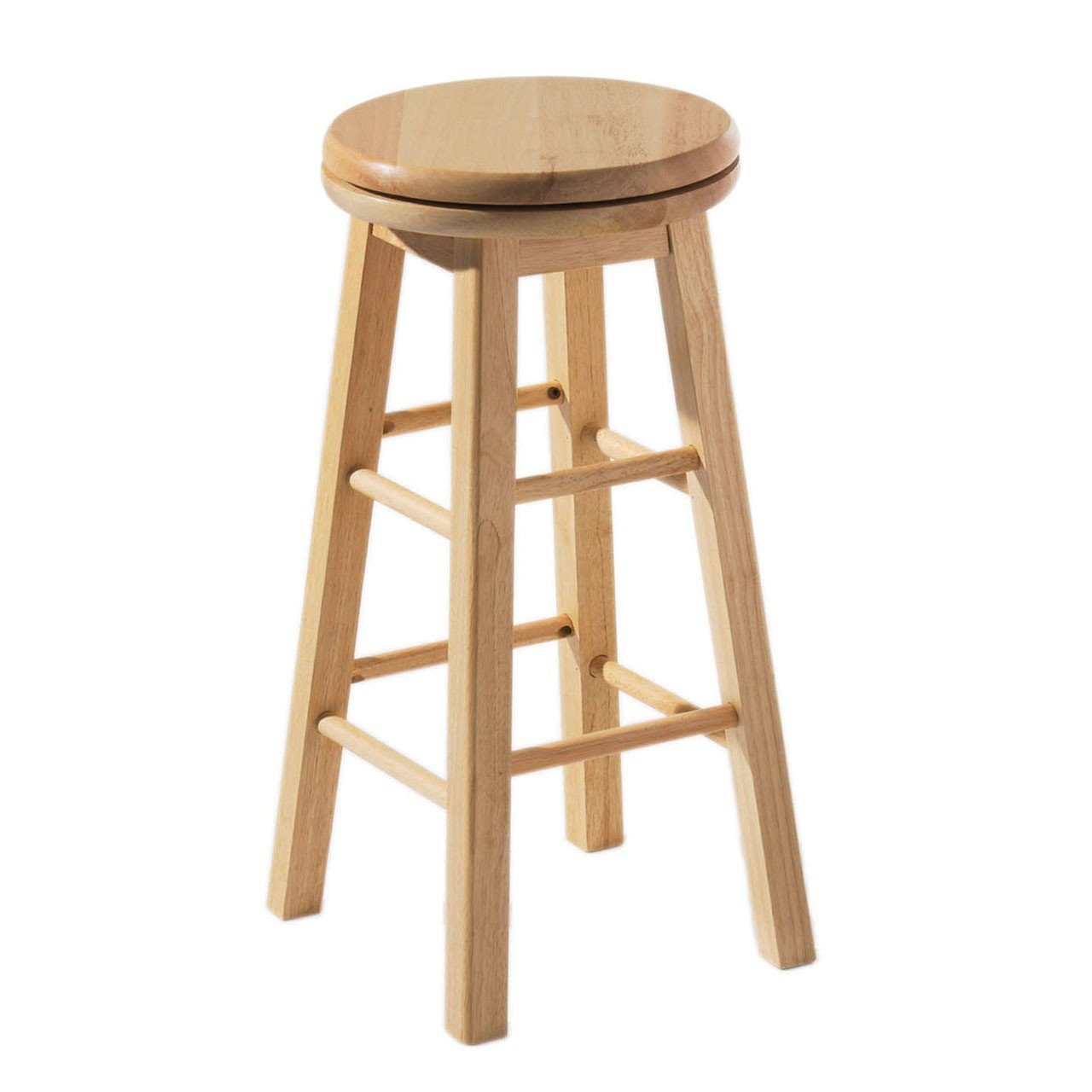 Prime Furnishing Natural Rubberwood Revolving Stool - Set Of 2