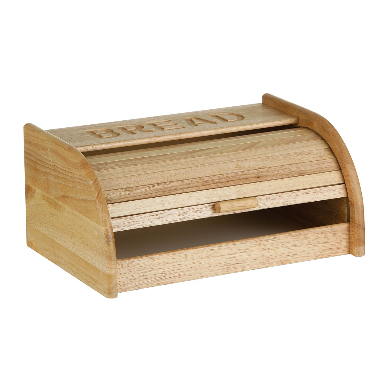 Rubber Wood Bread Bin with White Base