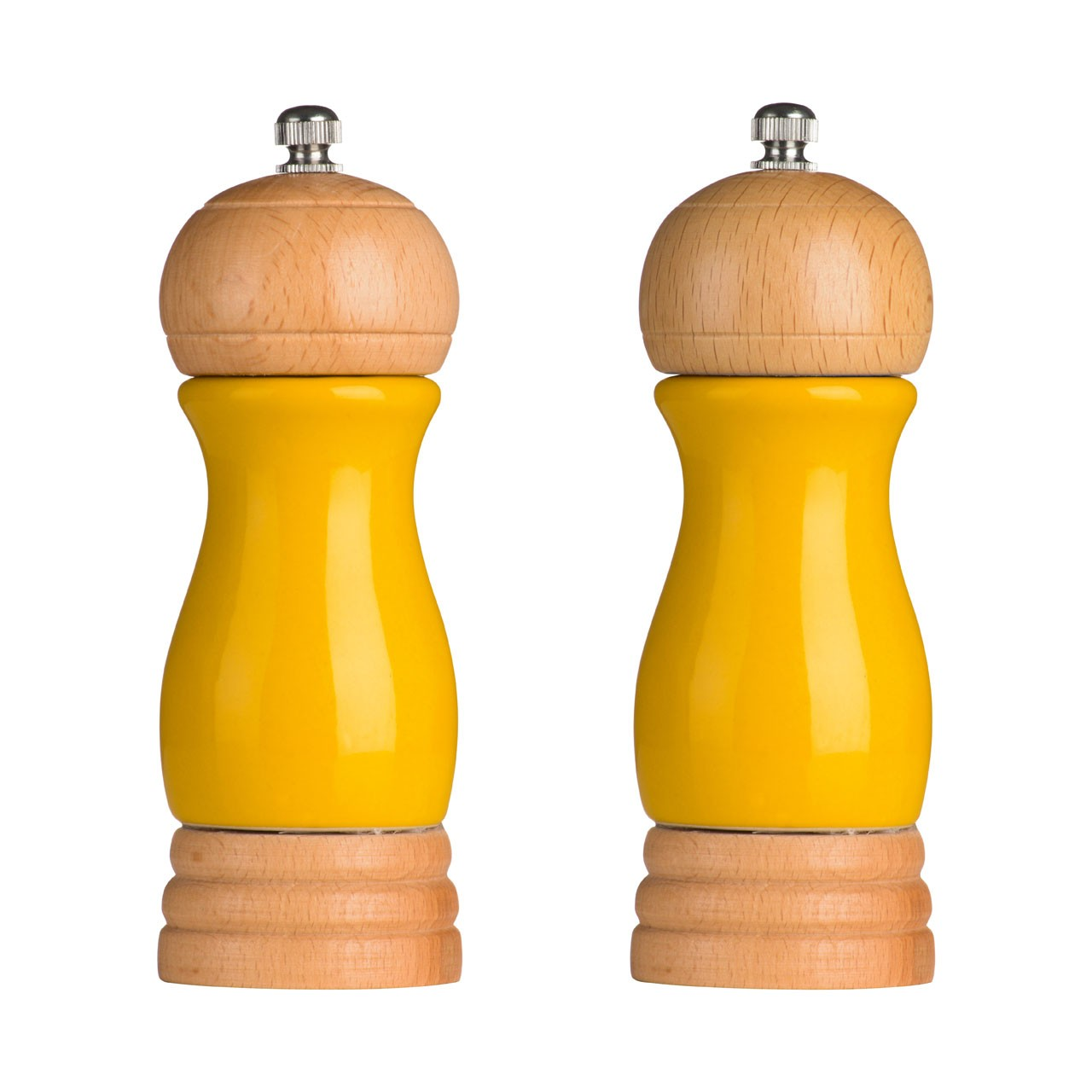 Rubberwood Salt and Pepper Mill Set - Yellow
