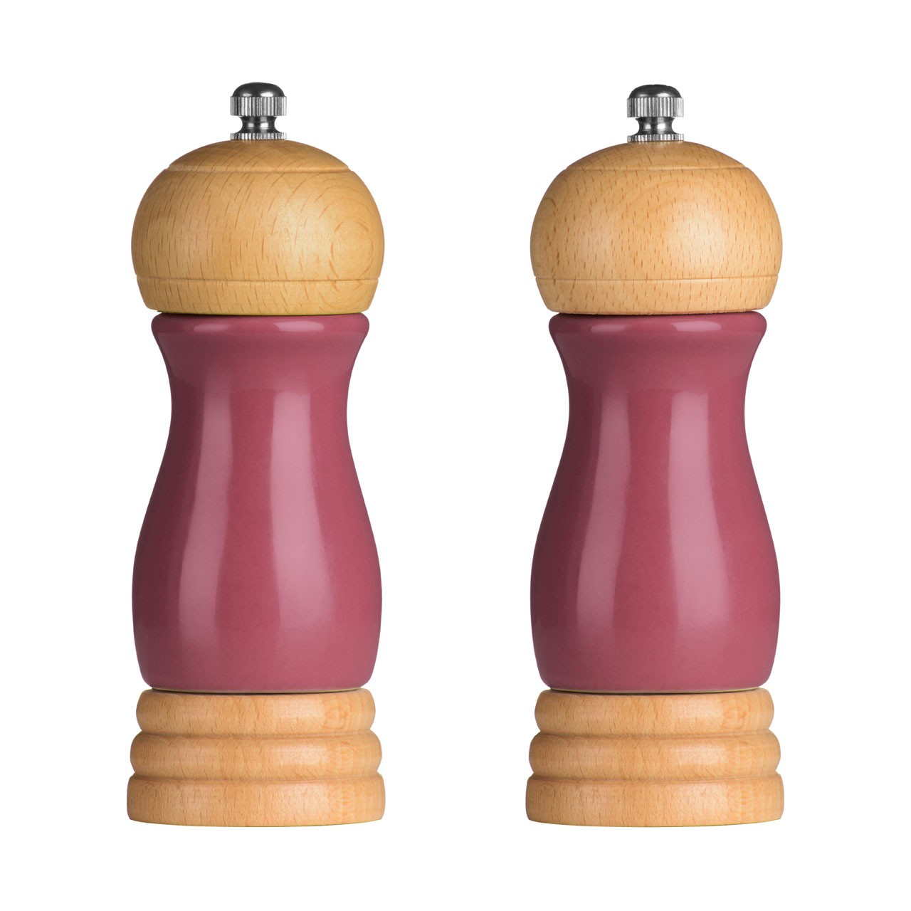 Rubberwood Salt and Pepper Mill Set - Raspberry