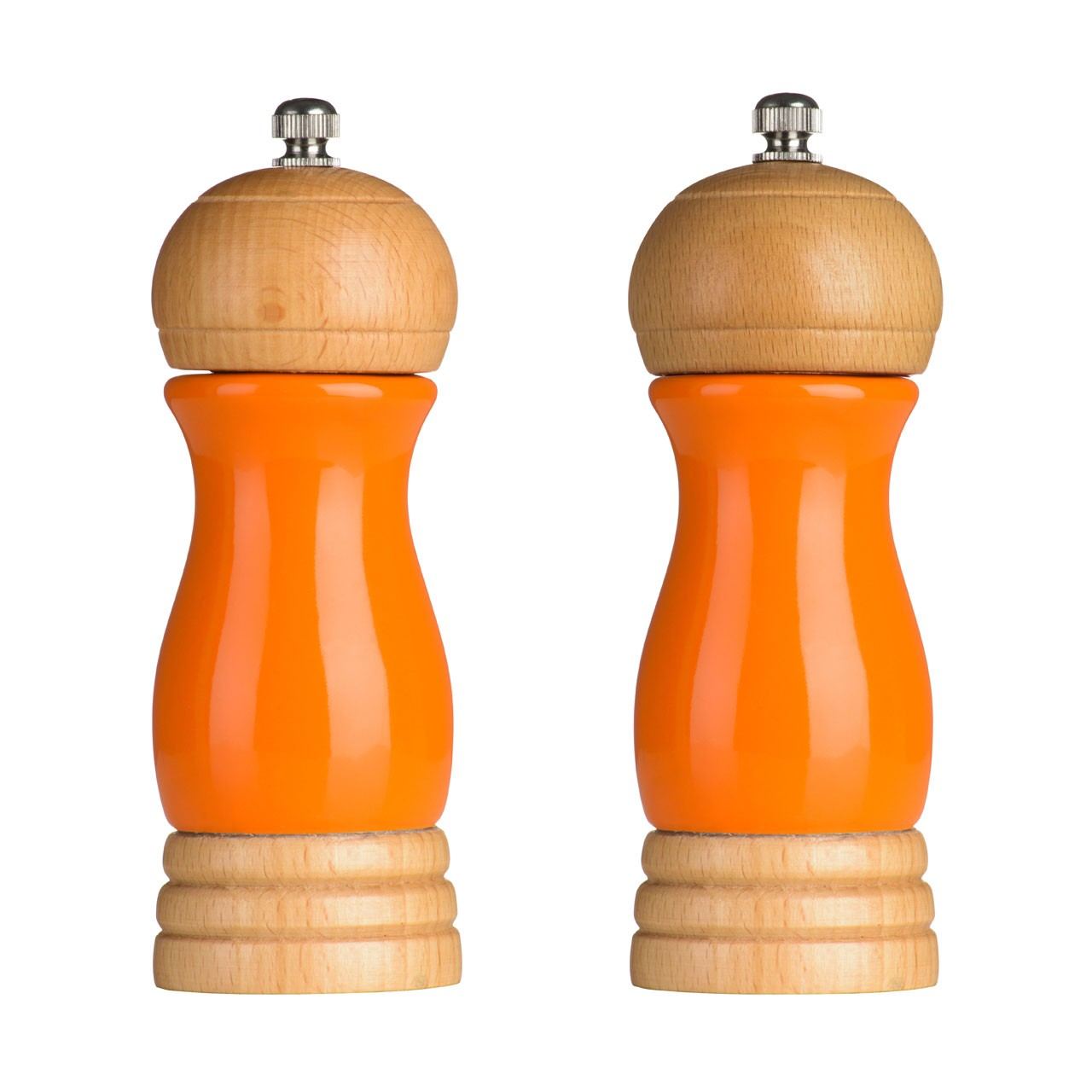 Rubberwood Salt and Pepper Mill Set - Orange