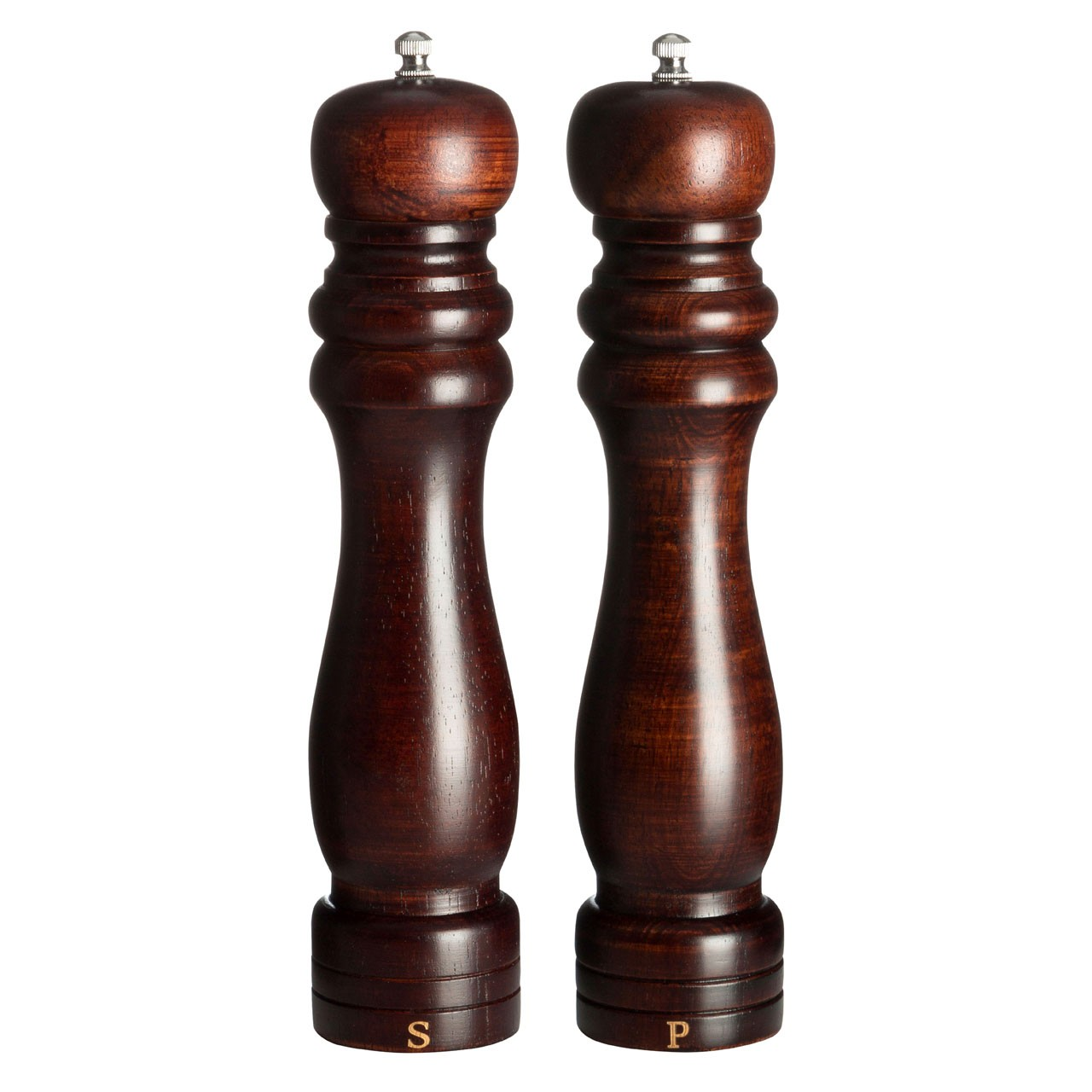 Salt And Pepper Mill Set (10in) Rubberwood Walnut Colour
