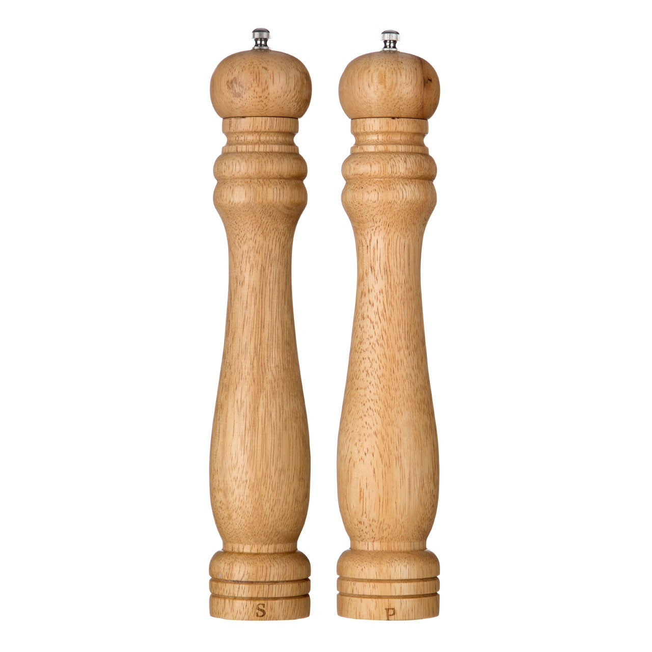 Salt And Pepper Mill Set (12in) Rubberwood Ceramic Grinding
