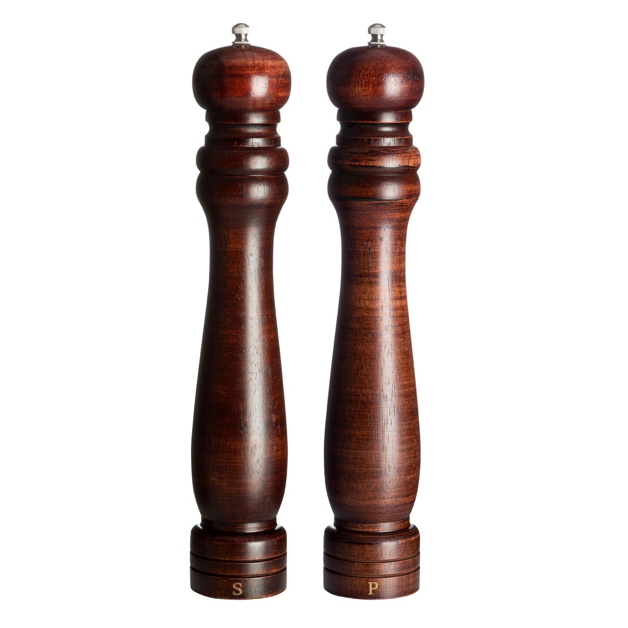 Salt And Pepper Mill Set (12in) Rubberwood Walnut Colour