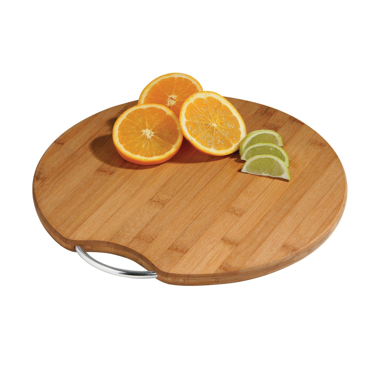 Round Bamboo Cutting Board with Metal Handle - Natural