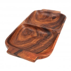 2 Section Rectangle Serving Dish with Handles, Acacia Wood