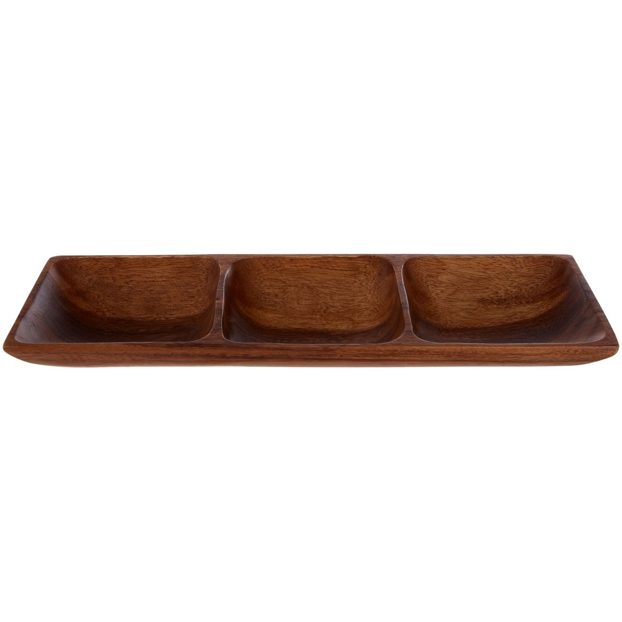 3-Section Rectangle Serving Dish - Acacia Wood