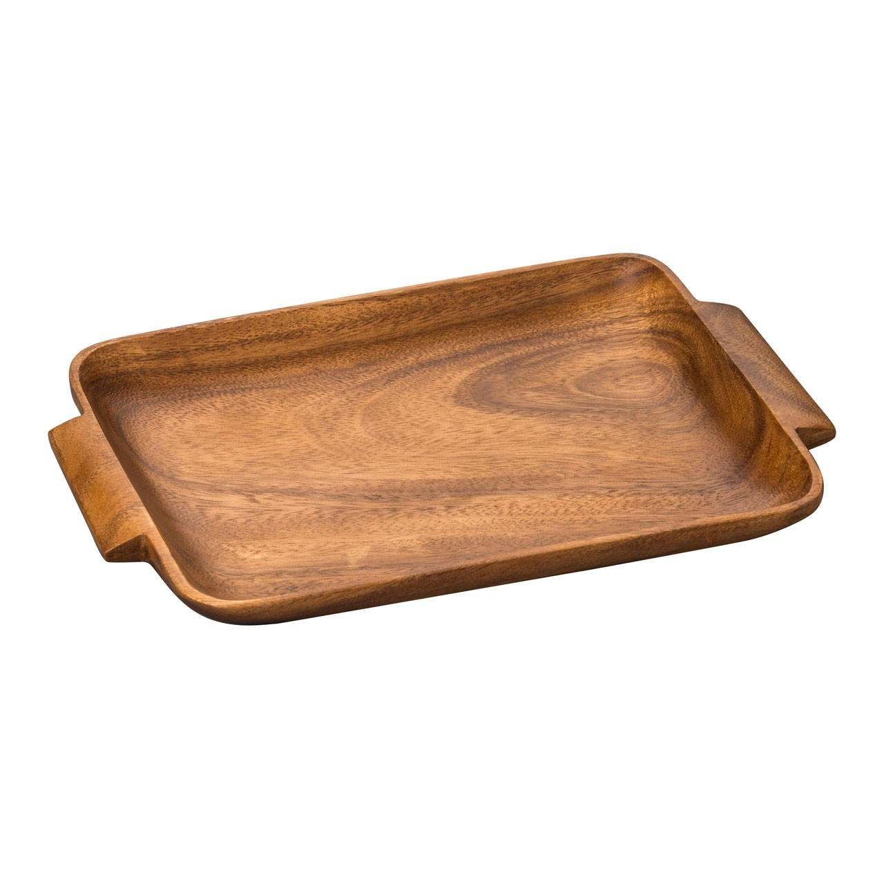 Acacia Wood Socorro Serving Tray with Handles, Brown
