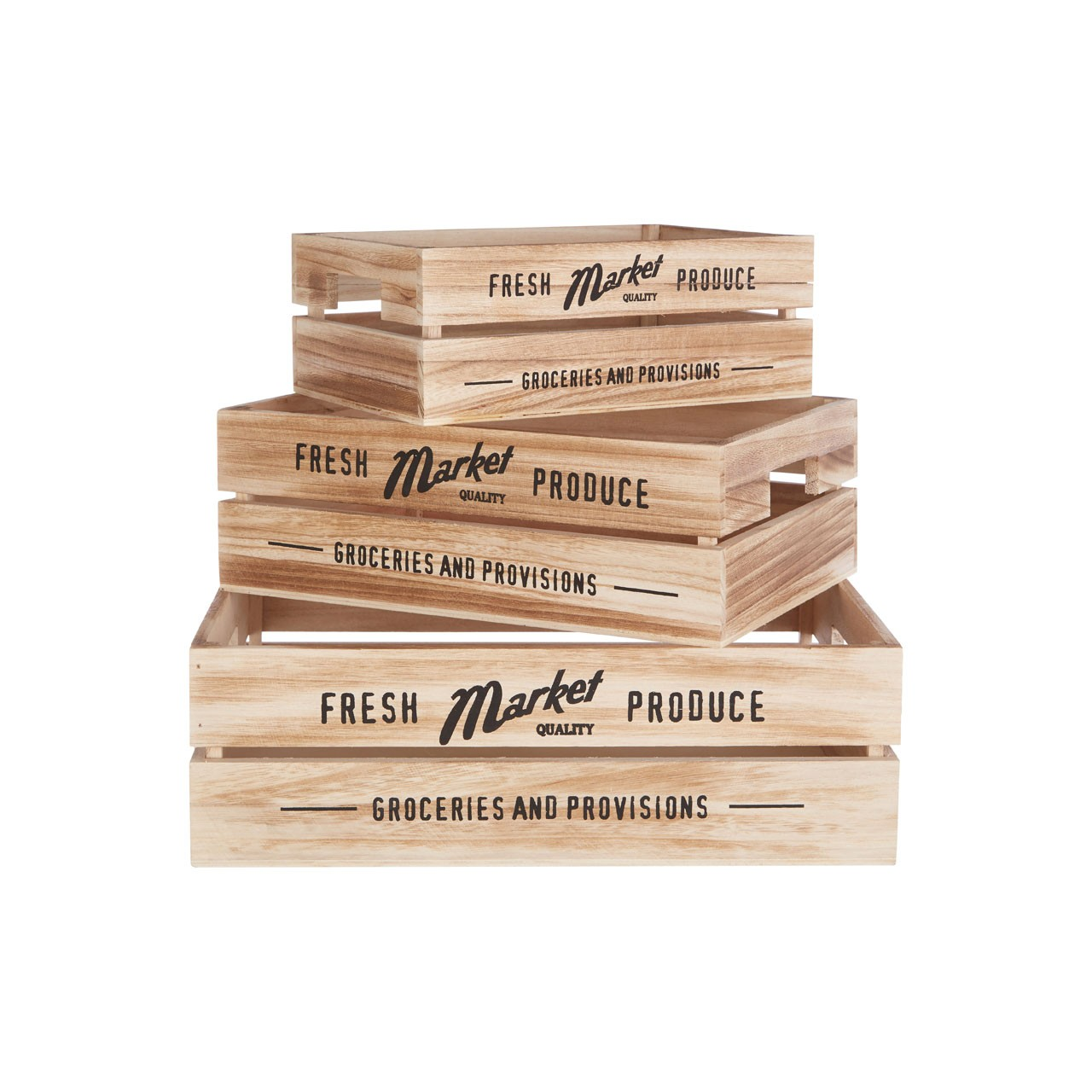 Rustic Provisions Crates Set of Three Natural