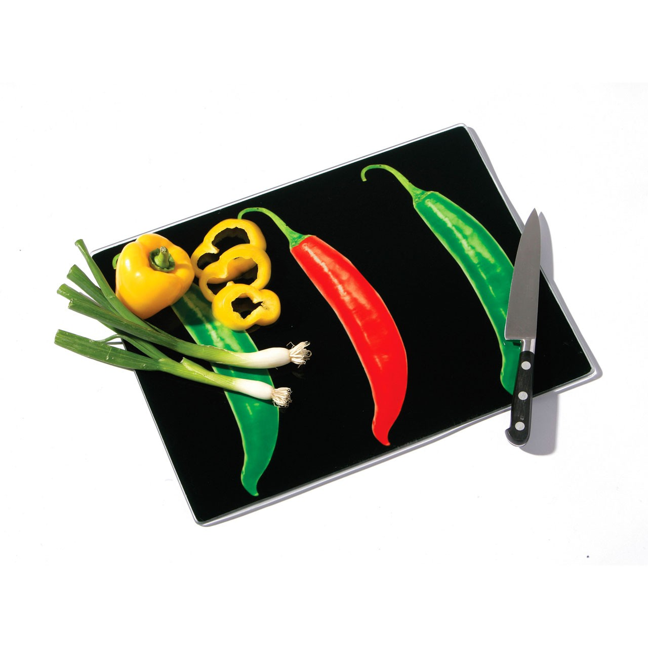 Premier Housewares Glass Chopping Board with Chilli Design