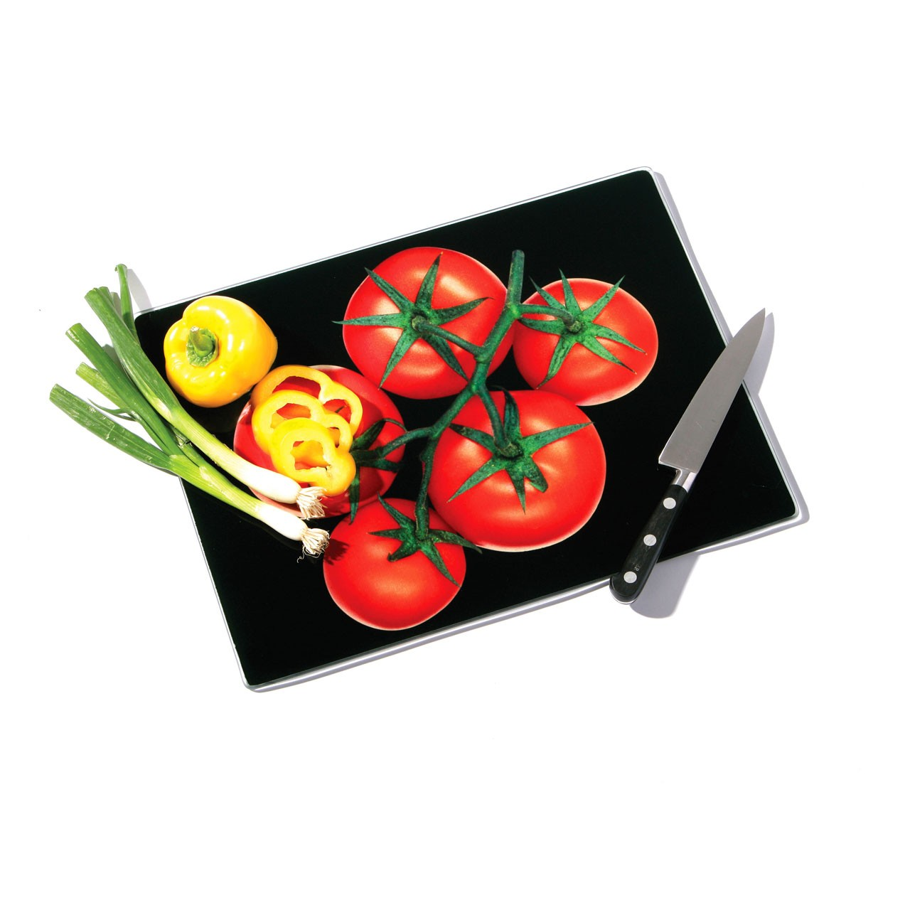 Glass Chopping Board with Tomato Design - Black