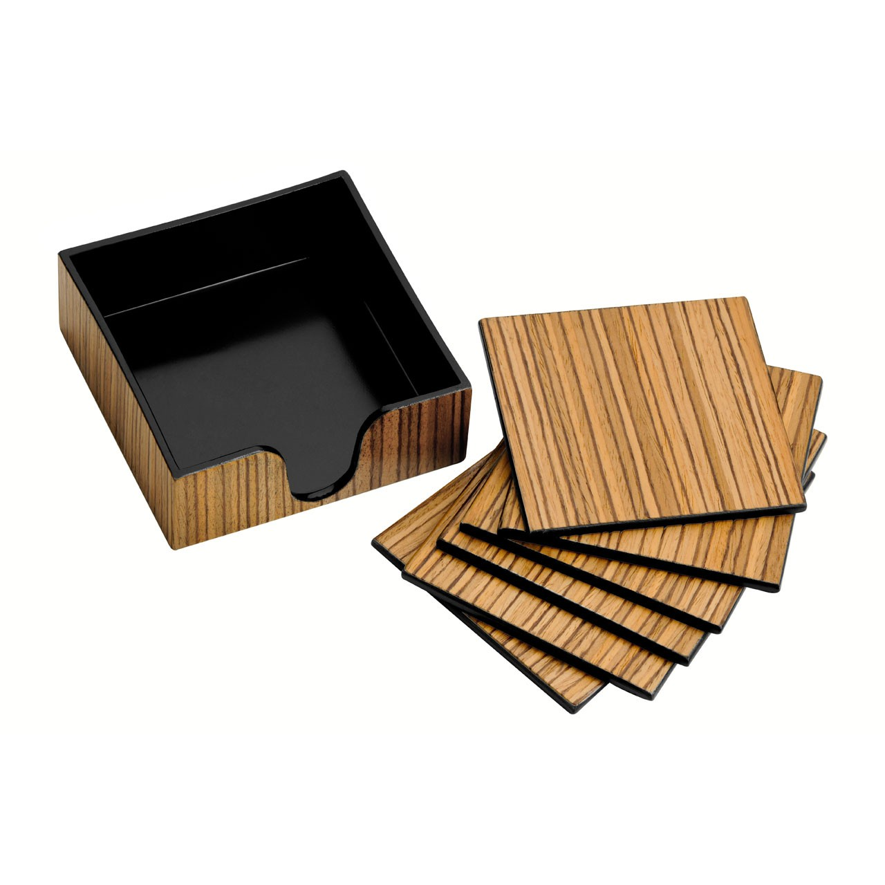 Elegant Coasters Set of 6 With Holder Made of Plastic & Wood Ven