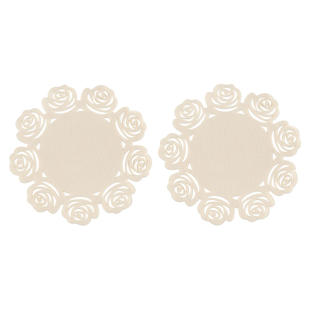 Rose Design Placemats - Ivory, Set of 2