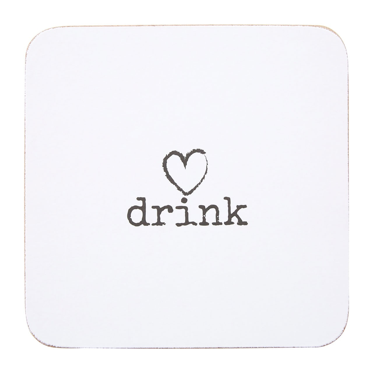"Charm Set Of 4 Coasters ""Drink"" Cork"