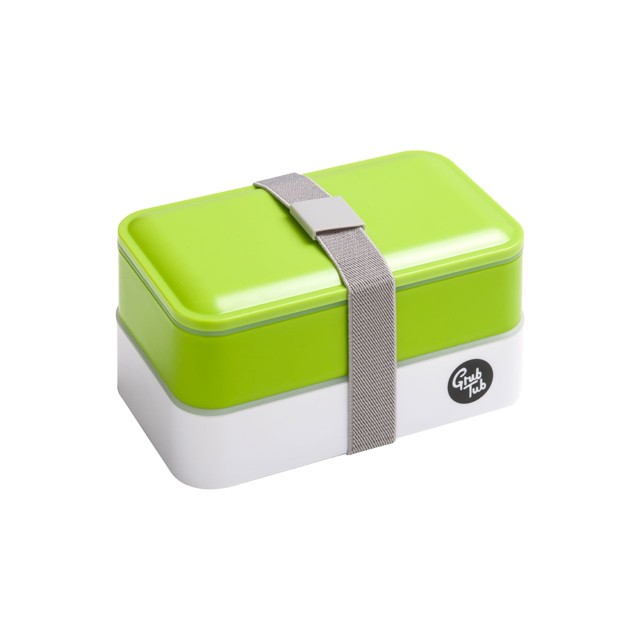 Grub Tub Lunch Box with 2 Containers and Cutlery - Green/White