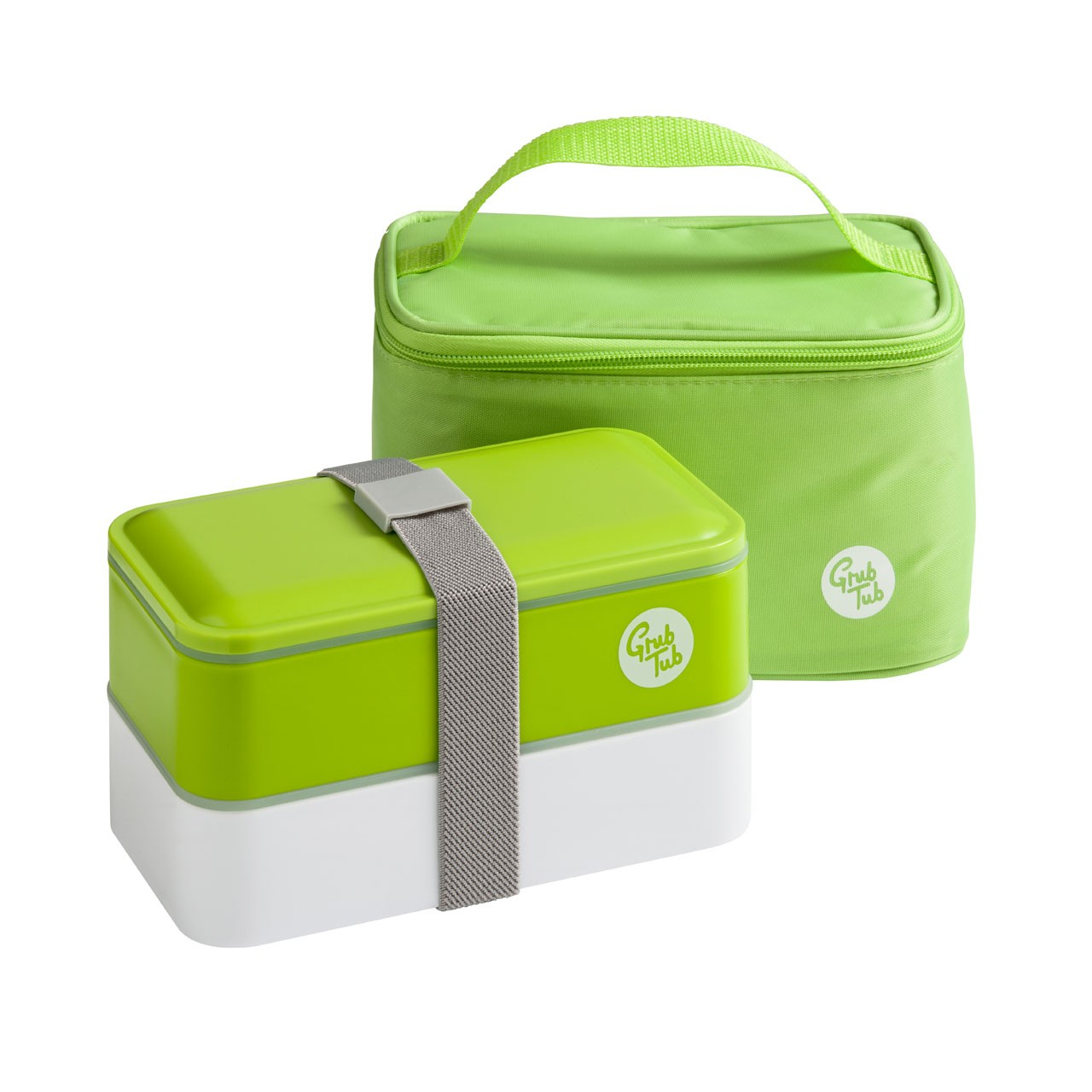 Grub Tub Lunch Box with 2 Containers/Cool Bag/Cutlery - Green