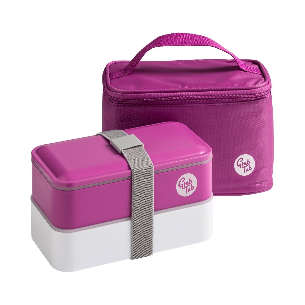 Grub Tub Lunch Box with 2 Containers/Cool Bag/Cutlery - Purple