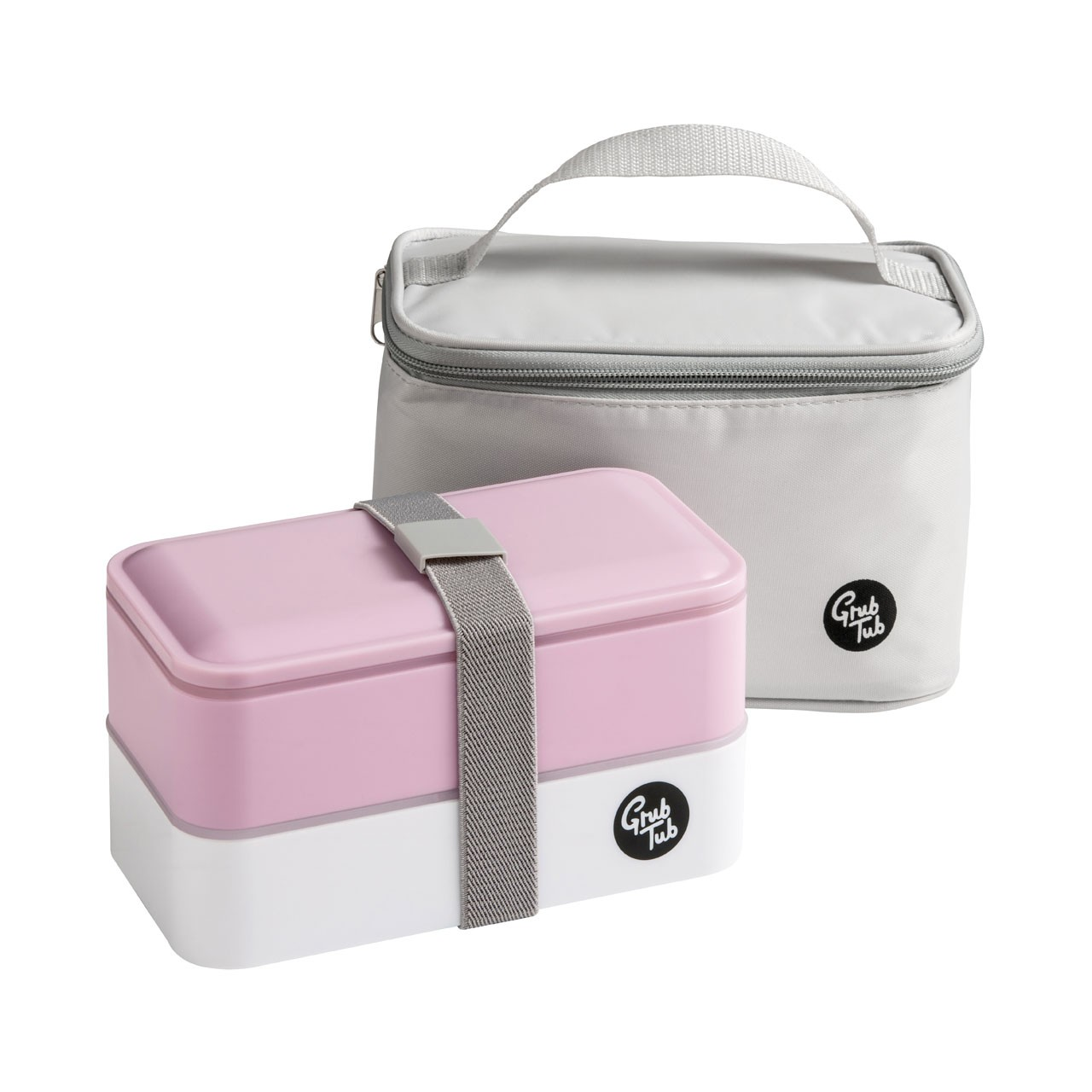 Grub Tub Lunch Box with 2 Containers/Cool Bag/Cutlery-Light Pink
