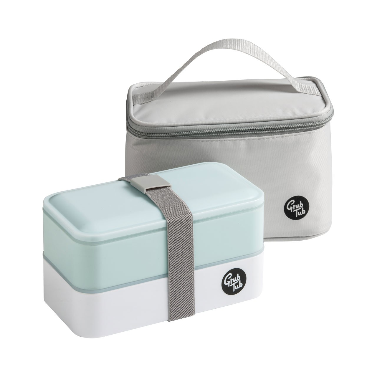 Grub Tub Lunch Box with 2 Containers/Cool Bag/Cutlery - Mint