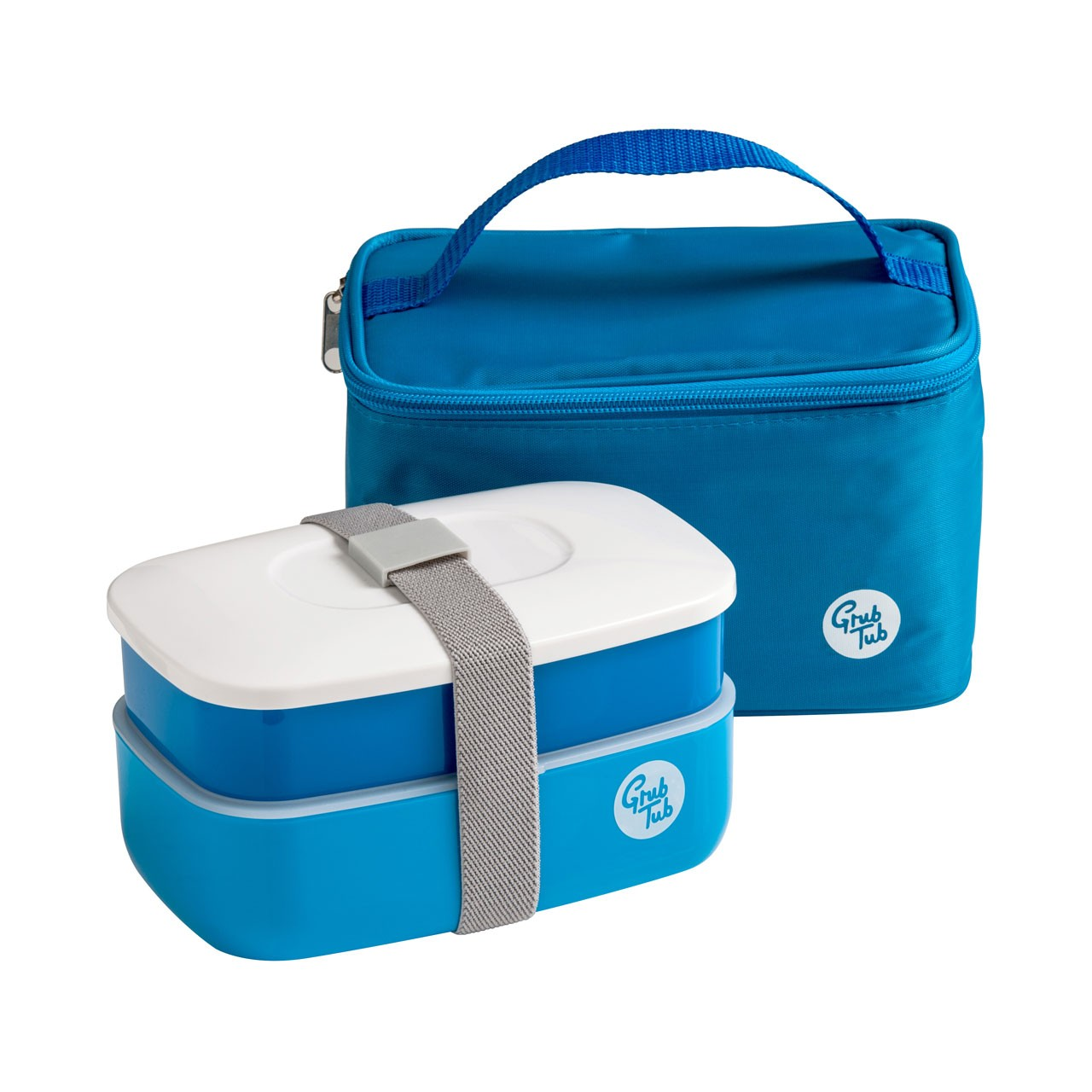 Grub Tub Lunch Box with 2 Containers/Cool Bag/Cutlery - Blue