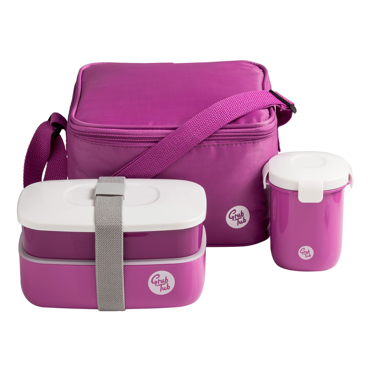 Grub Tub Lunch Box with 2 Containers/ Bag/Cutlery/Cup - Purple