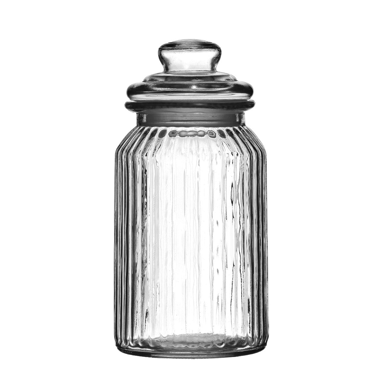Storage Jar, Ribbed Glass, 1300ml