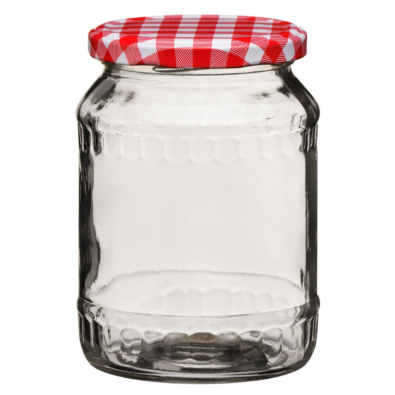 Storage Jar, Clear Glass/Red Gingham Lid, 630ml