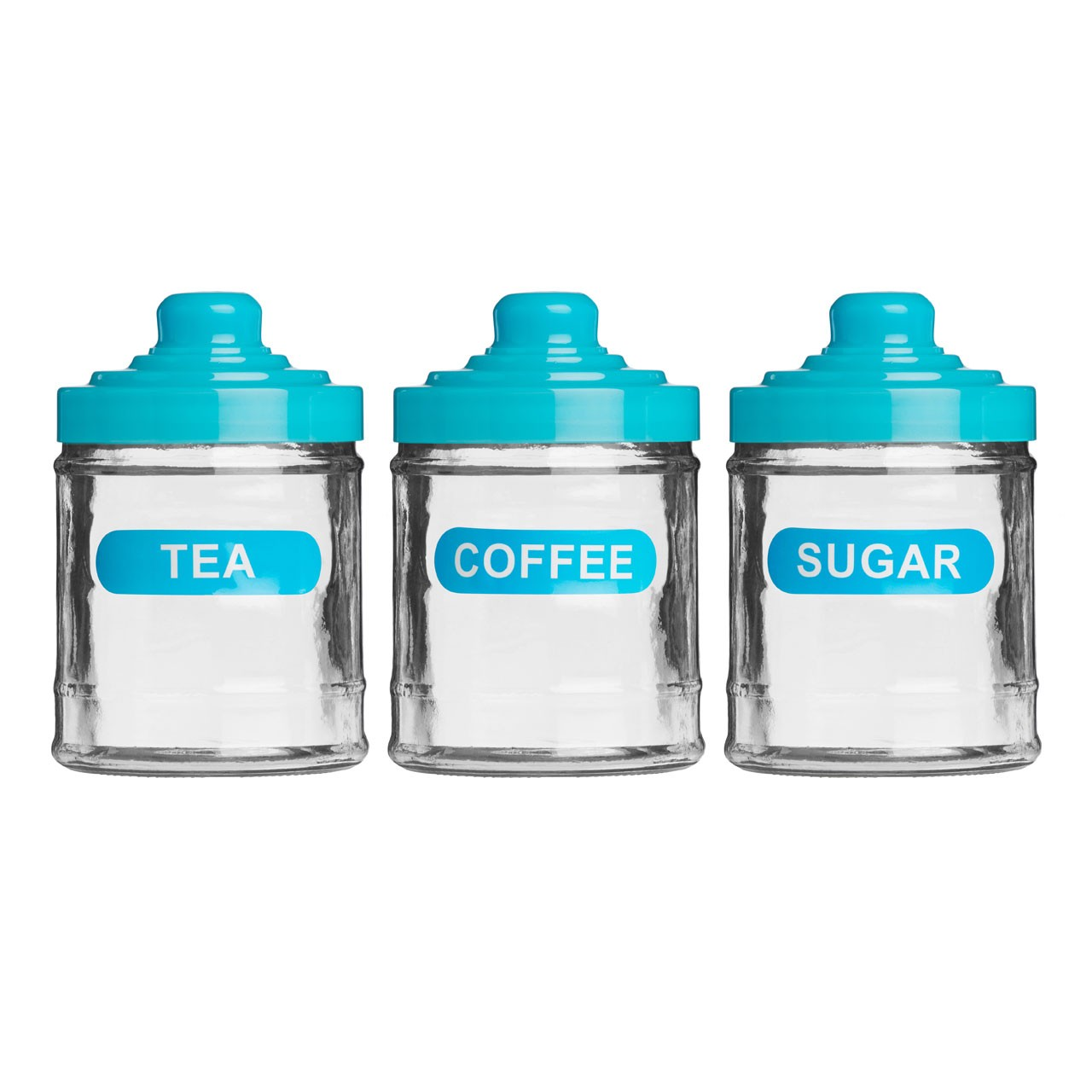 Tea, Coffee and Sugar Set, Glass/Blue Plastic Lid, 760ml
